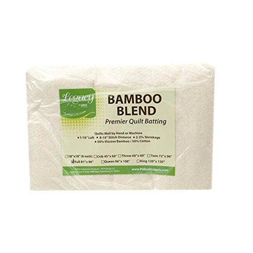 - Pellon Bamboo Rayon Batting Full 81in X 96in, Cream/White
