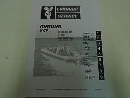 Array - 1978 evinrude service shop repair manual 85 115 140 hp oem      rh   amazon com