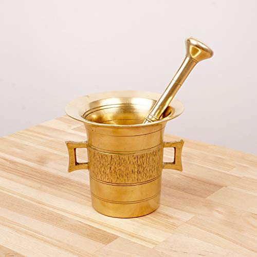 Restored by UKARETRO Antique Mortar and Pestle || Solid - Brass Mortar