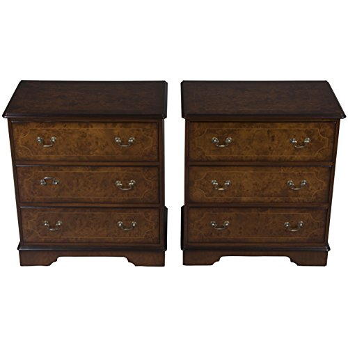 English Classics Pair of Georgian Style Walnut Bedside Chests ()