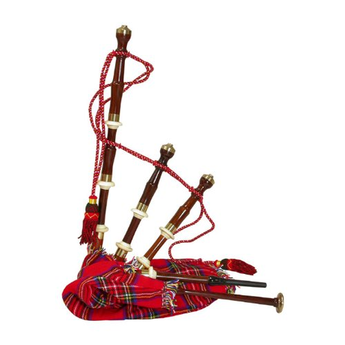 Roosebeck Bagpipe, Rosewood Chalice Style with Red Tartan Cover, Miniature BGCAT