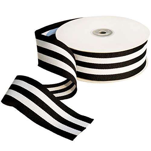 Black & White Taffy Striped Fabric Grosgrain Ribbon 1-1/2
