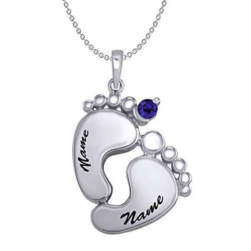 14K Gold 3MM Round September Birthstone Mother's Footprint Pendant Necklace (white gold, blue-sapphire) - Omega 14k Necklace