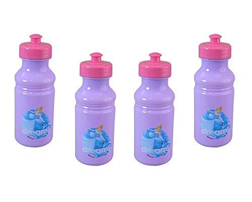 (Disney 4-Pack Princess Cinderella Kids 17oz Pull-Top Water Bottles, Purple Pink)