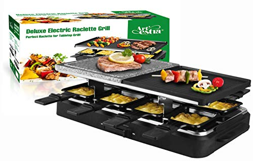 Artestia Electric Raclette Grill with Two Half Top Plates(Non-Stick Reversible Aluminum and High Density Granite Grill Stone), Serve the whole family (Half Stone and Half Aluminum Plate Raclette)