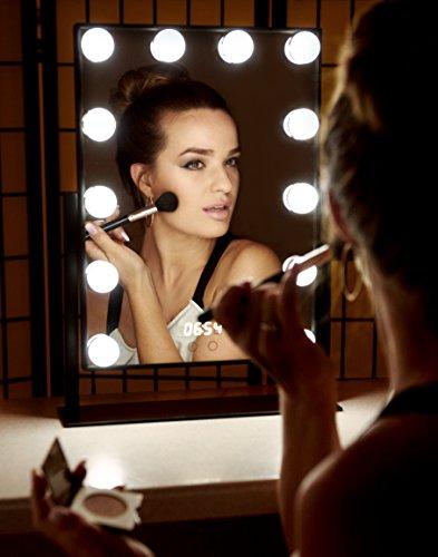Estala Hollywood Vanity Mirror with Lights – Professional Makeup Mirror & Lighted Vanity Makeup Table Set with Smart Touch Adjustable LED Lights, White Vanity Mirror, Digital Clock & Steel Frame