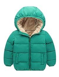Happy Cherry Boys'Bubble Jacket Thick Cotton-Padded Parka Jacket Hooded Fleece Lining Coat