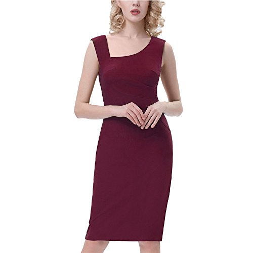 NDJqer Vintage Dress Sleeveless Women Office Dress Hips-Wrapped Back Split Sexy Business Bodycon Pencil Dress Wine Pencil Dress 3 XL