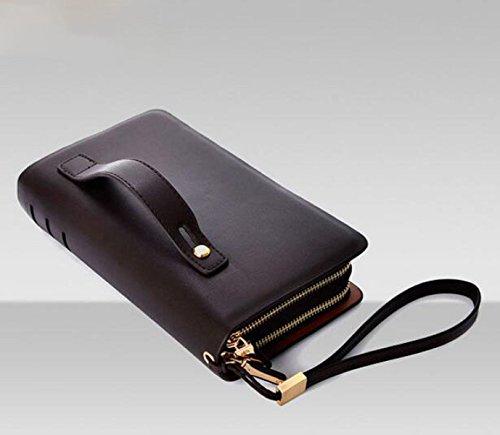Bolsos Brown Card Handle Handbag Wallets Moda De Handle Los Hombres Simple Pack Business Multifuncional BxwBzOSqr