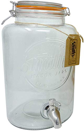 5 Litre Drinks Dispenser with Steel Spigot, wire mesh (to stop blockages) and gift tag, it's the Ultimate Drinks cooler - By Smith's Mason Jars (Large Glass Dispenser Beverage)