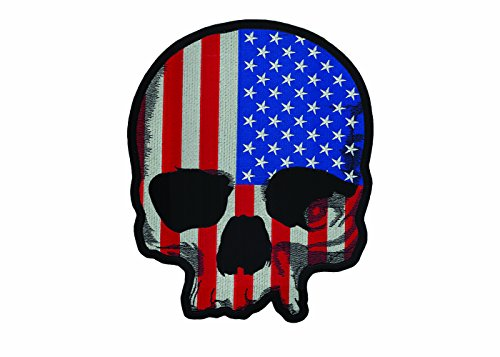 (Lethal Threat (LT30180 USA Flag Skull LG Embroidered Patch (11