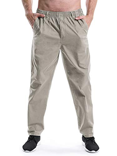 (OCHENTA Men's Full Elastic Waist Lightweight Workwear Pull On Cargo Pants #04 Khaki Tag 4XL - US 40)