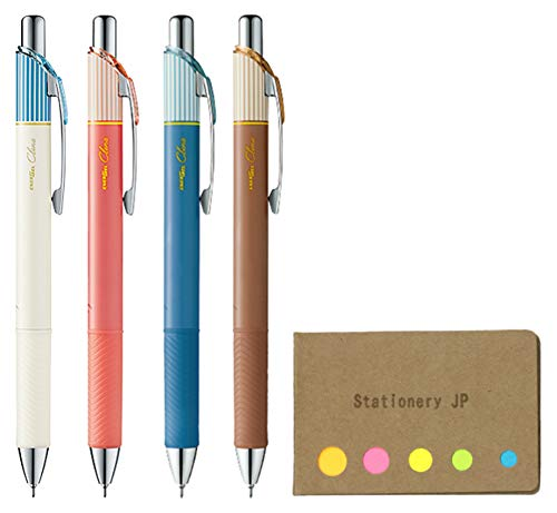 (Pentel EnerGel Clena Retractable Liquid Gel Pen, Micro Fine Point 0.5mm Needle Tip, 4 Colors Ink, 5-Pack, Sticky Notes Value Set)