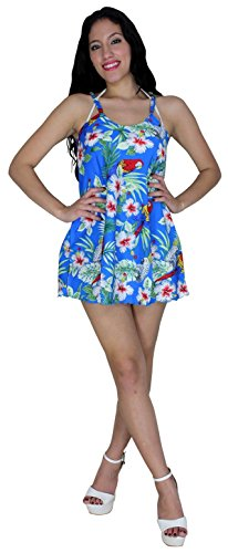La Leela Parrot Printed Blue Beach Swim Cover up Sundress S