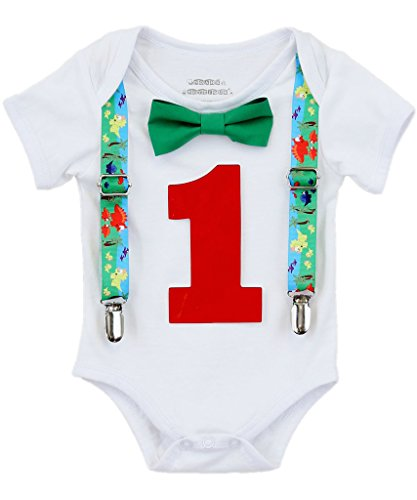 (Noah's Boytique Baby Boys First Birthday Dinosaur Party Outfit 18-24)