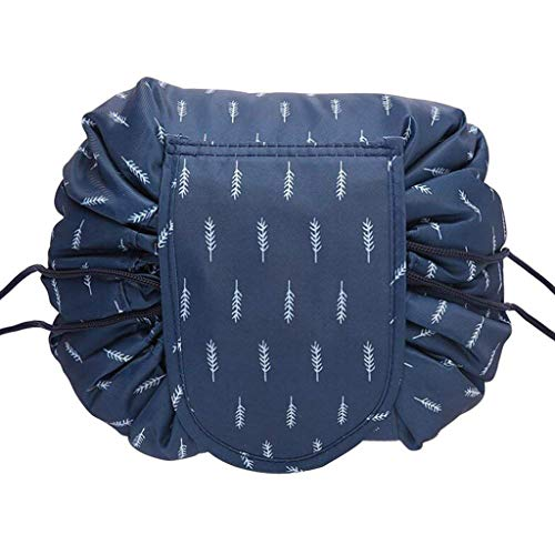 VCO Connections Lazy Cosmetic Bag with Drawstring Large Capacity Makeup Toiletry Bag Portable Storage Quick Pack Waterproof Travel Case for Women (Deep Blue Feather)