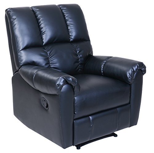 Leather Like Cushion Swivel Recliner (Barcalounger Relax & Restore Recliner, Black)