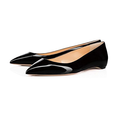(XYD Pointy Toe Slip On Flats Patent Hidden Low Heel Office Daily Walking Shoes for Women Size 7 Black )