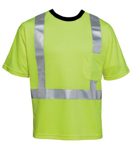 """Liberty HiVizGard Polyester Open Weave Mesh Class 2 T-Shirt with 2"""" Wide Silver Reflective Stripes and 1 Pocket, X-Large, Fluorescent Lime Green"""