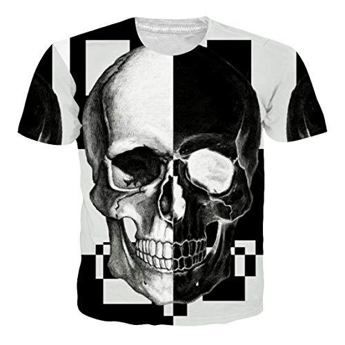 RAISEVERN Adult's Short Sleeve T-Shirt Cool 3D Print Black and White Skeleton Crewneck Top Tees -
