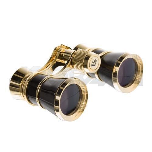 LaScala Optics LSA01 Aida 3 x 25 Central Focusing Opera Glasses Black with Golden Rings LSA3x25-LSA-01