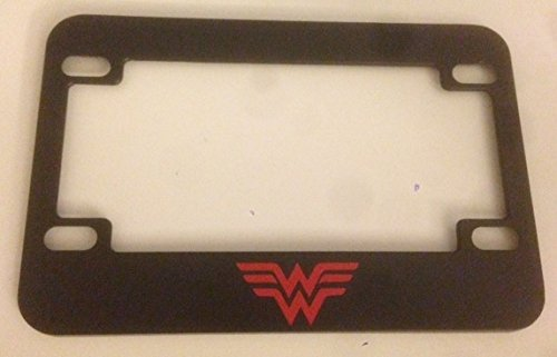 '' W '' Wonder Woman Style - Black with Red Motorcycle / Scooter License Plate Frame - Super Mom Super Girl Super Woman