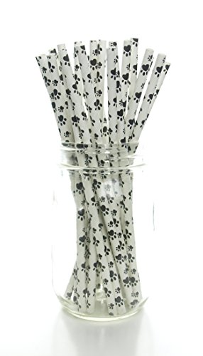 Black Puppy Paw Print Straws (25 Pack) - Dog Paws Pattern Paper Straws, Doggy Party Supplies, Animal Fabric Print Drinking (Puppies Paper)