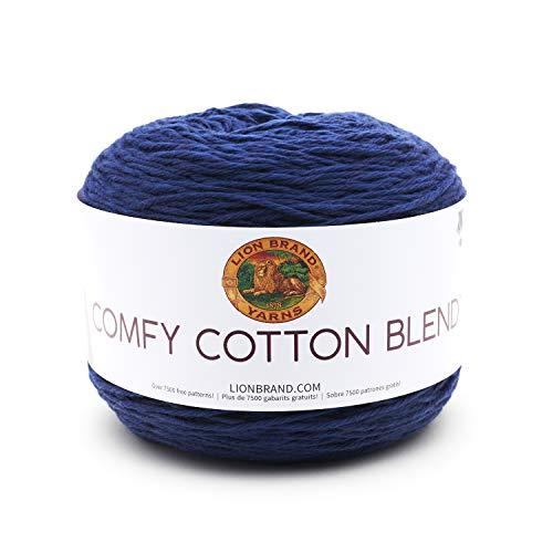 Lion Brand Yarn 756-110 Comfy Cotton Blend Yarn, One Size, Spectrum (Lion Navy Brand Yarn)