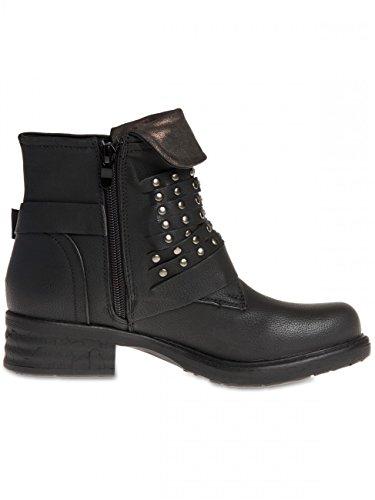 CASPAR Biker Women Vintage Boots Black SBO078 BwBpr