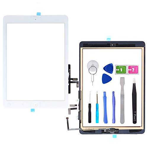 T Phael White Digitizer Repair Kit for iPad 5 A1474 A1475 A1476,iPad5 iPad Air 1st Touch Screen Digitizer Replacement Assembly -Inc Home Button +Camera Holder+ Pre-Installed Adhesive +Tools Kit