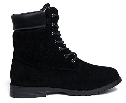 Suede Mujer Caña Baja Bajo Tacón Sólido Shoes Cordones Botas AgeeMi Negro SqxYw1gC5