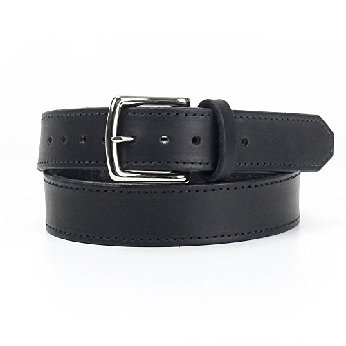 Rugged Material Harness Leather Gun Belt with Hidden Pocket for Concealed Carry CCW Use - Full Grain Leather Belt - 16 oz - Made in USA Black XX-Large