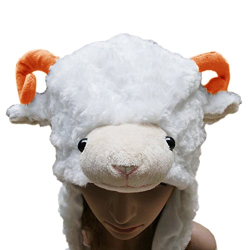 TOPTIE Ladies Animal Hat, Soft Fleece Lined Hat - Sheep Antelope Beauty Hat-White Sheep -