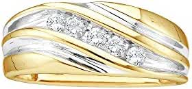 Roy Rose Jewelry 14K Yellow Two-tone Gold Mens Round Diamond Wedding Anniversary Band Ring 1/4 Carat tw ~ Size 10