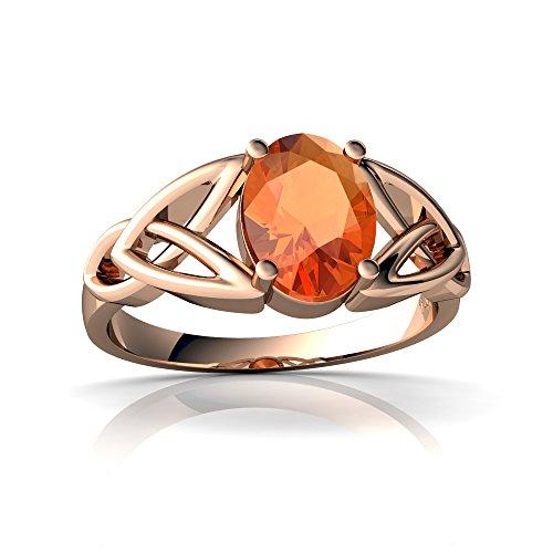 (14kt Rose Gold Fire Opal 8x6mm Oval Celtic Trinity Knot Ring - Size 5.5)