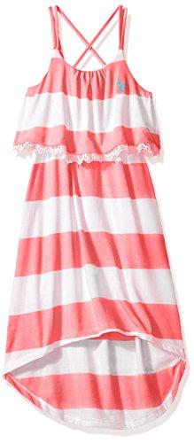 U.S. Polo Assn. Big Girls' Hi-Lo Striped Flounce Maxi Dress, Neon Pink, 8/10 (Maxi Dress For Girl)