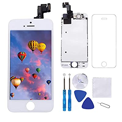 """Screen Replacement for iPhone 5S White 4.0"""" LCD Display Touch Digitizer Frame Full Assembly Repair Kit, with Proximity Sensor, Ear Speaker, Front Camera,Screen Protector, Repair Tools"""