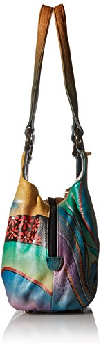Triple Dancing Compartment Peacock Handbag Leather Hand Anuschka Painted Womens Satchel Medium gXzxqI