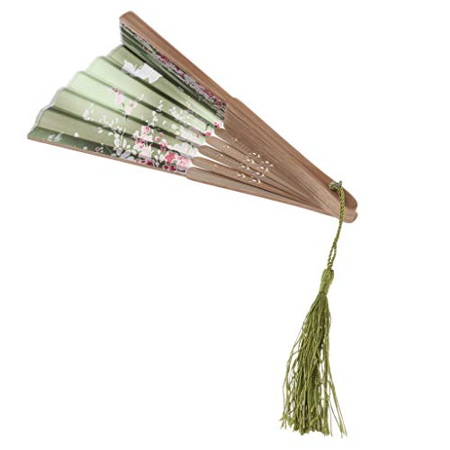 Vintage Japanese Silk Floral Folding Hand Held Fan Wedding Dance Party Prom |Color - Olive Green