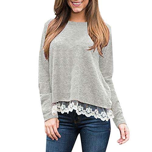 Mimfor Women Casual Daily Lace Stitching Soild Long Sleeve Beach Shirt Tops Blouse (L, Grey) ()