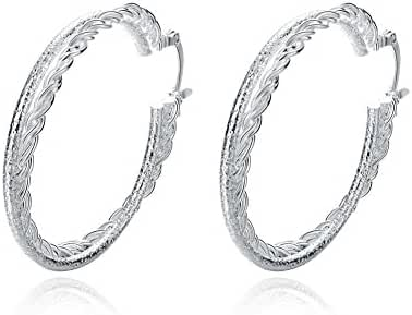 Fashion Platinum Plated Stainless Steel Round Double Hoop Earrings Women-Alan M.Arevalo