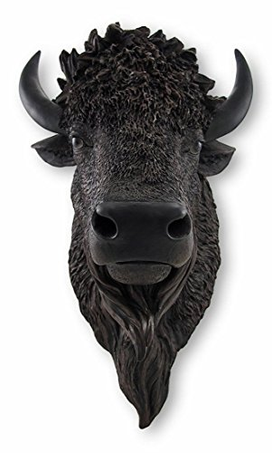 Real Looking Black Buffalo / Bison Wall Mount - Bison Head