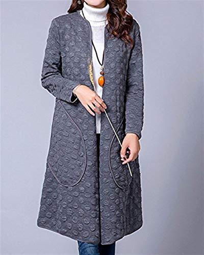 Longues Outerwear Elgante Coat Mode Manches Blouson Uni Rond D'Extrieur Hiver Confortables Femme Automne Col Costume Manche Manteau Longues Grau Dcontract Bouffant Vtements qUwT5tBF