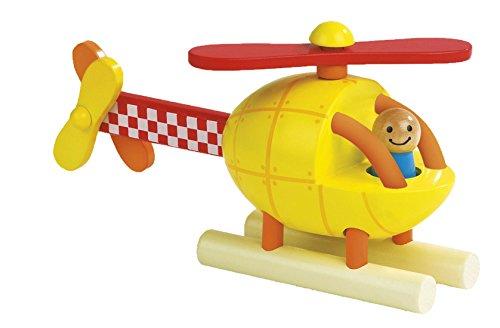 Janod–Jouet en Bois–Kit Hélicoptère magnétique à hélice Avion, multicolore