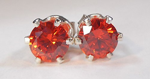 Mystic Mountain Jewels Handmade Unisex Mens Womens 6mm 1 Carat 1Pair 925 Sterling Silver 6 Prong Post Stud Earrings CZ Diamond Cubic Zirconia Burnt Orange