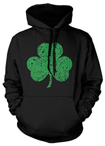 Clover Hoodie (Cybertela Green Three Leaf Clover Sweatshirt Hoodie Hoody (Black,)