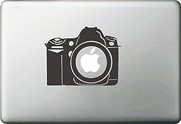 Vati Leaves Removable Creative Cartoon Apple Vintage Camera Decal Sticker Skin Art Black For Macbook