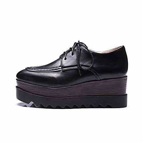Latasa Femmes Plate-forme Lacets Oxford Wedges Chaussures Noir