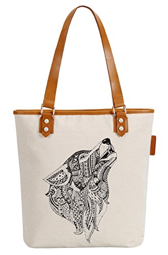 So'each Women's Wolf Animal Geometry Canvas Tote Pearly Top Handle Shoulder Bag