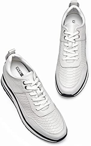 41p03n7J%2BnS. AC GOLDMoral Air Cushion Increasing Shoes for Men White Sneakers That Make You 8CM / 3.15 Inches Taller    Height Increase: 8CM / 3.15 InchesUpper Material: Calfskin LeatherLining Material: Genuine LeatherColor Selection: WhiteSeason: Spring,Summer,Autumn,Winter